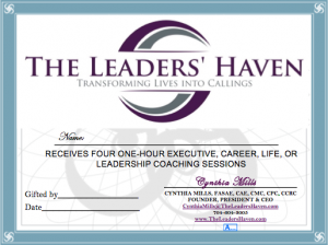 Certificate Cover - 4 One Hour Coaching Sessions