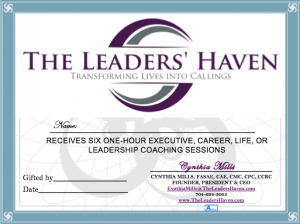 Certificate Cover - 6 One Hour Coaching Sessions
